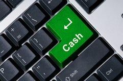 клавиатура наличных дег зеленая ключевая стоковые фотографии rf