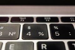 Клавиатура ноутбука Яблоком, номерами стоковые изображения rf