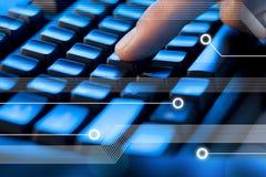 клавиатура перста компьютера Стоковое Фото