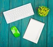 Клавиатура радиотелеграфа тонкая белая и зеленая мышь, блокнот, цветок дальше Стоковое Изображение RF