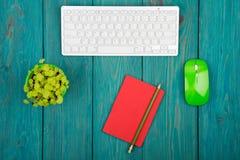 Клавиатура радиотелеграфа тонкая белая и зеленая мышь, блокнот, цветок дальше Стоковые Изображения RF