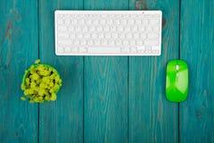 Клавиатура радиотелеграфа тонкая белая и зеленая мышь на голубом деревянном столе Стоковые Фотографии RF