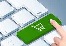 Клавиша на клавиатуре магазинной тележкаи Нажим пальца кнопка иллюстрация штока