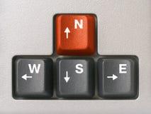 клавиши на клавиатуре компаса стрелок Стоковое Изображение