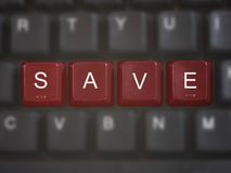 клавиши на клавиатуре компьютера сохраняют Стоковое фото RF