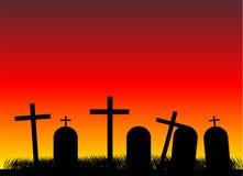 Кладбище на вечере Стоковое Изображение