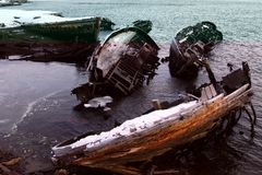 Кладбище покинутых кораблей Teriberka Стоковая Фотография