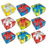 кладет вектор в коробку иллюстрации подарка иллюстрация вектора