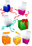 кладет вектор в коробку подарка Стоковое фото RF