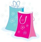 кладет вектор в мешки снежинки рождества Стоковая Фотография