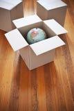 кладет двигать в коробку глобуса Стоковое фото RF
