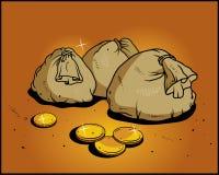 кладет доллар в мешки шаржа Стоковая Фотография RF