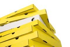 кладет желтый цвет в коробку пиццы белый Стоковое Изображение RF