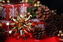 кладет звезду в коробку подарка ели конусов золотистую красную Стоковое Изображение RF