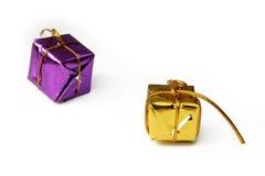 кладет изолированный подарок в коробку Стоковое Изображение RF
