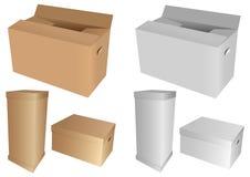 кладет картон в коробку Стоковое фото RF