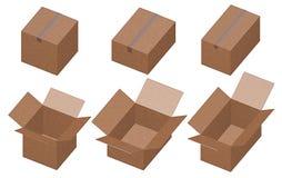 кладет картон в коробку иллюстрация штока