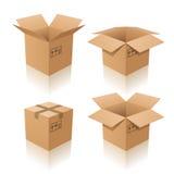 кладет картон в коробку Стоковая Фотография RF