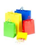 кладет китайский ходить по магазинам в мешки примечаний Стоковые Изображения RF