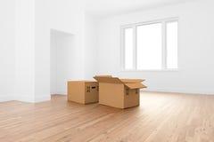 кладет комнату в коробку картона пустую стоковые фото