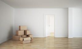 кладет комнату в коробку картона пустую бесплатная иллюстрация