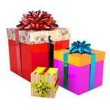кладет комплект в коробку подарка счастливый иллюстрация вектора