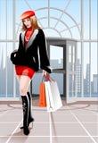 кладет красивейшую женщину в мешки покупкы Стоковое Фото