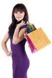 кладет красивейшую shoping женщину в мешки Стоковые Изображения RF