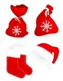 кладет носки в мешки santa шлема подарка claus иллюстрация вектора