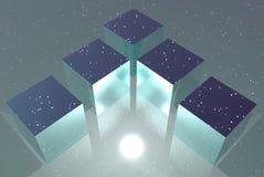 кладет отражая звезды в коробку Стоковое фото RF