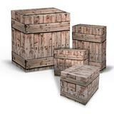 кладет пересылку в коробку товаров деревянную Стоковая Фотография RF