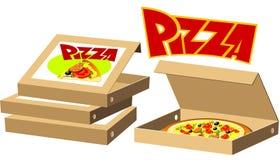 кладет пиццу в коробку иллюстрация вектора