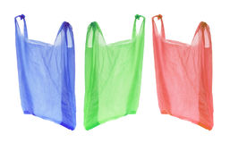 кладет пластичную покупку в мешки Стоковое Фото
