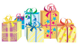 кладет подарки в коробку рождества Бесплатная Иллюстрация