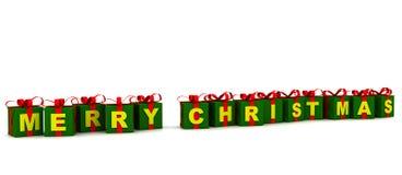 кладет подарок в коробку рождества веселый Стоковое фото RF