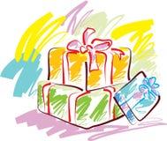 кладет подарок в коробку иллюстрация штока