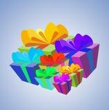 кладет подарок в коробку multicolour Стоковое Изображение RF