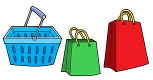 кладет покупку в мешки корзины иллюстрация штока