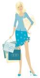 кладет покупку в мешки удерживания девушки Иллюстрация штока