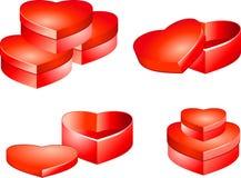 кладет праздник в коробку сердца подарка Стоковая Фотография RF