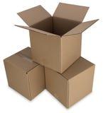 кладет путь в коробку картона Стоковая Фотография