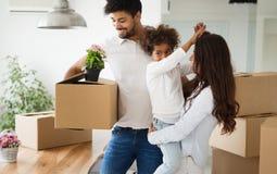 кладет семью в коробку картона счастливую Стоковое Изображение