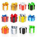 кладет тесемки в коробку подарка цвета собрания Стоковые Изображения RF
