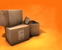 кладет шарж в коробку Стоковое Фото