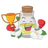 Кладя в коробку масло жасмина победителя изолированное в мультфильме иллюстрация штока