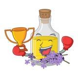 Кладя в коробку масло лаванды победителя над таблицей макияжа мультфильма бесплатная иллюстрация