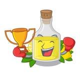 Кладя в коробку масло лимона победителя политое в стекле мультфильма иллюстрация вектора