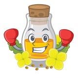 Кладя в коробку масло мустарда упакованное в бутылке коробки иллюстрация штока