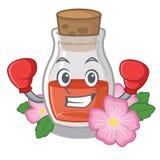 Кладя в коробку масло семени плода шиповника в бутылке мультфильма бесплатная иллюстрация