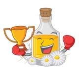 Кладя в коробку масло стоцвета победителя помещенное в бутылке мультфильма иллюстрация вектора
